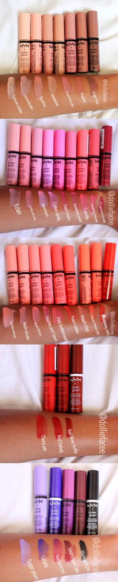 All of the NYX Butter glosses swatched on Brown Skin. I am missing raspberry pavlova .