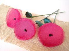 Handmade flowers with stems- set of 3 pcs-