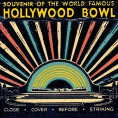 Hollywood Bowl Matchbook Print with moon and stars Los Angeles