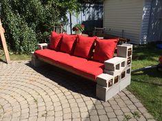 Cinder blocks fence posts patio furniture