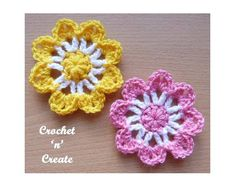 Free flower applique crochet pattern, you can attach to most projects like bags, blankets, clothing etc. CLICK and scroll down page for pattern. Crochet Car, Crochet Puff Flower, Crochet Flower Patterns, Flower Applique, Crochet Motif, Crochet Designs, Crochet Flowers, Crochet Stitches, Crochet Hooks