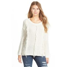 Junior Volcom 'Treasure This' Fringe Sweater ($65) ❤ liked on Polyvore featuring tops, sweaters, bone, sweater pullover, chunky knit sweater, white long sleeve top, white fringe top and white long sleeve sweater