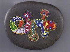 Hand Painted Idaho River Rock Salamader- Lizard-Colorful