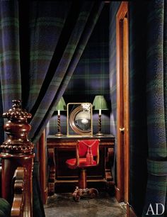 Interior of designer Francine Coffey's home  in Manhattan.  She covered the walls of the bedroom and adjacent dressing room area in a wool Campbell Tartan.
