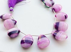 Purple Shaded Chalcedony Chalcedony Smooth Pear by gemsforjewels