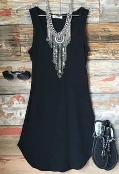 The Fun in the Sun Tank Dress in Black is comfy, fitted, and oh so fabulous! A g… The Fun in the Sun Tank Dress in Black is comfy, fitted, and oh so fabulous! A great basic that can be dressed up or down! Sizing: Small: Medium: Large: True to Size with. Mode Outfits, Casual Outfits, Spring Summer Fashion, Spring Outfits, Winter Fashion, Black Tank Dress, Dress Red, Black Tunic, Look Boho