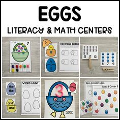 Get prepped for your Easter theme with our printable EGGS Literacy & Math Centers for preschool, pre-k, kindergarten to use during your small groups and independent learning centers in your classroom. Practice alphabet, writing, letter sounds, reading, numbers, counting, shapes, colors skills, and more!
