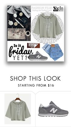 """SheIn"" by ljabii ❤ liked on Polyvore featuring Hershey's, New Balance and Levi's"