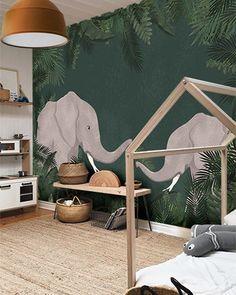 Little Hands wallpaper - Joli Place - panoramic wallpaper elephant kids room - Baby Bedroom, Baby Boy Rooms, Baby Room Decor, Nursery Room, Kids Bedroom, Boys Jungle Bedroom, Kids Rooms, Bedroom Decor, Jungle Baby Room
