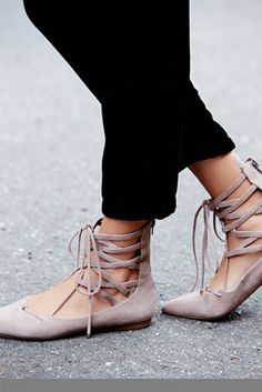 Ballet Flats That Are Anything But Basic Jeffrey Campbell Shay Lace Up FlatsJeffrey Campbell Shay Lace Up Flats Shoe Boots, Ankle Boots, Shoes Heels, Flat Shoes, Shoes Pic, Shoes Style, Pumps, Crazy Shoes, Me Too Shoes