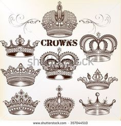 Find Collection Vector Vintage Crown Design Elements stock images in HD and millions of other royalty-free stock photos, illustrations and vectors in the Shutterstock collection. Thousands of new, high-quality pictures added every day. Tattoo Drawings, Body Art Tattoos, Sleeve Tattoos, Tatoos, Tattoo Couronne, Calaveras Mexicanas Tattoo, Royalty Tattoo, Coroa Tattoo, Queen Crown Tattoo