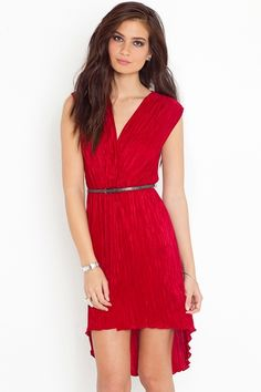 Pleated Tail Dress - Red