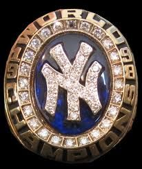 1998 New York Yankees World Series Ring. Derek Jeter, Bernie Wiliams and Paul O'Neil wore this ring.