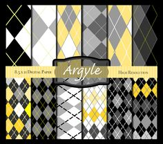 Argyle Digital Paper in Yellow Gray Black & White. INSTANT download and FREE GIFT 8.5 x 11 for scrapbooking web design blogs etc. DigiBonBons 1.99 USD