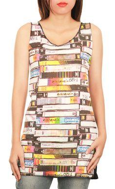Black Top Tank  Mini Dress - Video Cassette Tapes Screenprint  Women Tunic Top Tank Singlet Vest Mini Dress M57 Size S, M