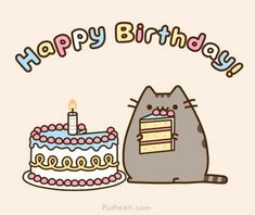 "This adorable card is the perfect way to say ""Happy Birthday"" to fans of Pusheen! Card measures x Inside card is blank. Content: Single Card option includes 1 card and 1 Pusheen envelope. option includes 5 cards and 5 Pusheen envelopes. Pusheen Happy Birthday, Cat Birthday Memes, Happy Birthday Fun, Happy Birthday Images, Birthday Gifs, Happy Brithday, Birthday Cartoon, 30 Birthday, Belated Birthday"