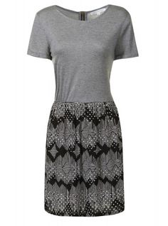 Grey Marl With Printed Skirt Jersey T-Shirt Dress
