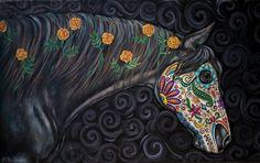 Day of the Dead Original Horse Painting - Dia de los Muertos - Folk Art - Sugar Skull on Etsy, $225.00