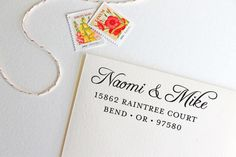 Return Address Stamp calligraphy style black by yellowfishpaperie, $31.50