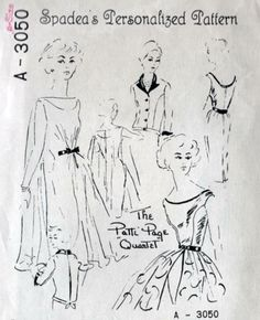 "Spadea A-3050 circa 1958 Personalized Pattern ""The Patti Page ""Quartet"" wardrobe. Sleeveless sheath dress, jacket, belted overskirt, & sheer trapeze dress to wear over sheath"