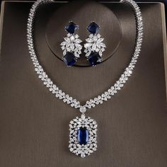 Cubic Zirconia Necklace and Earring Set Women's Jewelry Sets, Prom Jewelry, Jewelry Party, Bridal Jewelry, Jewelry Gifts, Jewelery, Jewelry Accessories, Wedding Jewelry Sets, High Jewelry