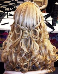 long blonde curls pull back french braid waterfall  bridal hair Toni Kami Wedding Hairstyles ♥ ❷ Wedding hairstyle ideas