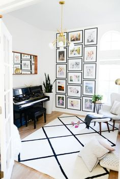 A music room filled with aesthetic pleasing art and textures.