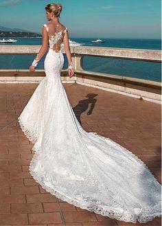 #Dressilyme - #Dressilyme Dressilyme Junoesque Tulle & Lace Bateau Neckline Mermaid Wedding Dress With Lace Appliques & Beadings - AdoreWe.com