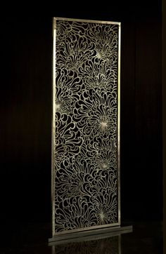 Chrysanthemum Screen - brass | Viya decorative unique garden screen divider panels custom