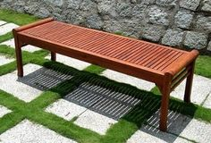 Wood Backless Bench - VIFAH V437 Outdoor FSC [Lawn Patio] MPN: V437