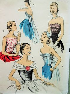 Vintage Advance 8141 Sewing Pattern Strapless by sewbettyanddot