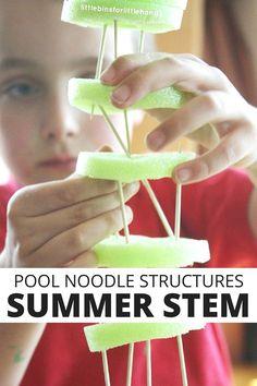 Pool Noodle Structures Summer Engineering STEM Challenge for Kids