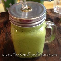 Its really Green Smoothie time :) Kale, coconut water, banana, orange, chia and Camu Camu.  You can purchase the straws, jugs and lids at The Raw Food Store - www.therawfoodstore.com.au