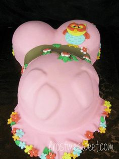 Owl woodland mama belly baby shower cake by Frost Me Sweet