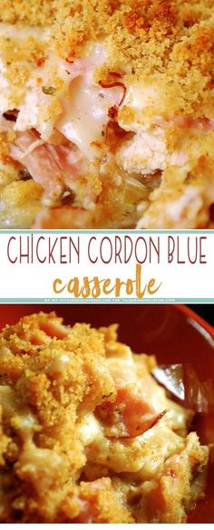 Indulge yourself with this easy, creamy, delicious Chicken Cordon Bleu Casserole for dinner. Kids, husbands, and wives a like are sure to LOVE this dish! recipes for dinner Chicken Cordon Bleu Casserole - TGIF - This Grandma is Fun Chicken Cordon Blue Casserole, Cordon Bleu Casserole, Chicken Cordon Blue Pasta, Chicken Alfredo, Crockpot Chicken Cordon Bleu, Creamy Chicken Casserole, Vegetable Casserole, Cauliflower Casserole, Recipe For Chicken Cordon Bleu