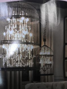Love the chandelier inside the bird cage! Found in Architectural Digest