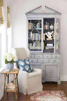 Reading Nook: A Bamboo Table Adds Warmth And Texture To This Cozy Corner.