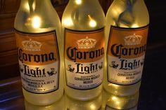 Corona Light Beer Bottle Light  3 Pack Frosted Glass (Yellow lights)  Bar Light, Corona Beer Lamp, Corona Light, Corona Beer Light, Corona Beer Bottle Lights, Sonoma County California, Corona Beer, Corona Bottle, Fish Plate, Vintage Fishing, Night Lamps, Light Beer, Bar Lighting