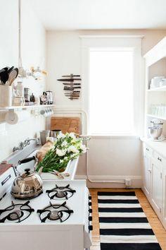 Küchenteppich Streifen Weiß Schwarz
