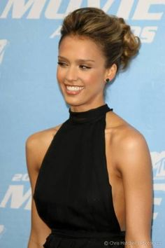 Jessica Alba in Lovely Cute Curly Evening Latina Updo Hairstyle - Beautiful Hairstyles