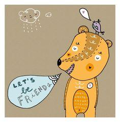 "Let's be Friends 5""x7"" print , wall art , nursery art  illustration via Etsy."