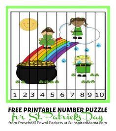 Kids Printable Number Puzzle for St. Patrick's Day - A Free Kids Printable Number Puzzle – Need to remember this format to create any puzzle. St Patricks Day Crafts For Kids, St Patrick's Day Crafts, March Crafts, Kid Crafts, Number Puzzles, Puzzles For Kids, Learning Numbers, Fun Learning, Sant Patrick