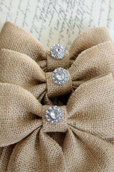 Create burlap bows & add a little bling!
