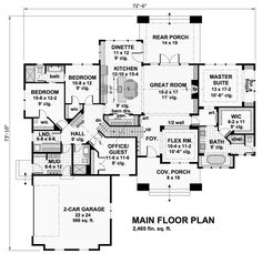 Bungalow House Plan with 4 Bedrooms and 3.5 Baths - Plan 9716 ... shoot. this must be the same designer. Same problem with the kitchen and the lack of access to the study. but great ideas with other elements that are perfect for modern families.