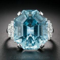 17.42 Carat Aquamarine Mid-Century Platinum and Diamond Ring