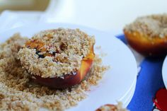 Grilled peaches with honey almond crumble