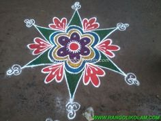 Easy and simple kolam Its simple and easy colour kolam for beginner can try…