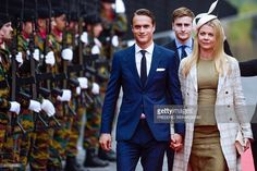 Arthur Gerald Wellesley, Earl of Mornington and Jemma Wellesley, Marquess of Douro arrive to attend a ceremony marking the 200th anniversary of the Battle of Waterloo on June 18, 2015 in Waterloo. A solemn memorial service will take place on the morning of June 18, 2015, marking the minute the first musket balls flew on the battlefield south of Brussels, followed by a huge sound-and-light show in the evening.