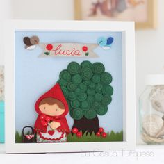 "Lucía....this little ""red-caped"" girl is SO cute!  and i love the leaves on the tree! very creative!"