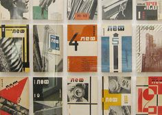 Alexander Rodchenko, covers for Novy LEF, Александр Родченко - Новый ЛЕФ, The New Typography Exhibition at MoMA. In collaboration with writer Vladimir Mayakovsky, Rodchenko produced page designs with strong geometric construction, large areas of pure color, and bold. hand-lettered. sans-serif letterforms.